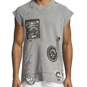 NWT Hudson Rex Sleeveless Distressed Sweatshirt L